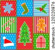 Christmas patchwork background - stock photo