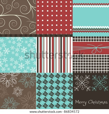 Christmas patchwork, vector - stock vector