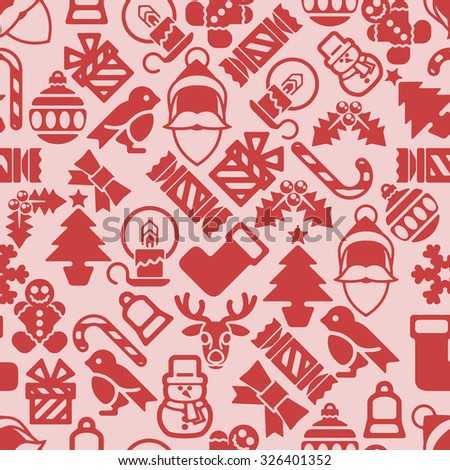 Christmas pattern background with illustrations of lots of Christmas icons - stock vector