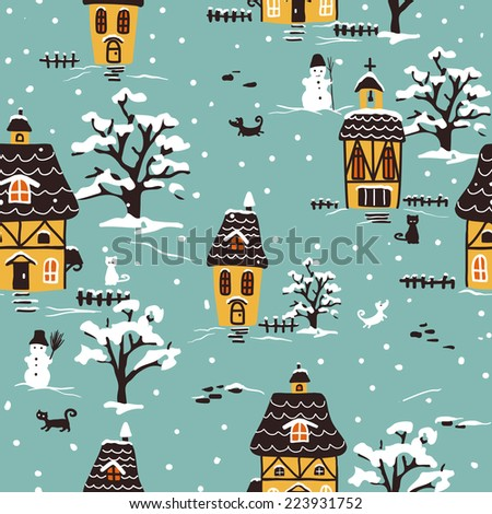 Christmas pattern. Winter village scene with houses, pets and snow.  Ideal for printing onto fabric and paper or scrap booking. Cottage style. Hand drawn illustration. - stock vector