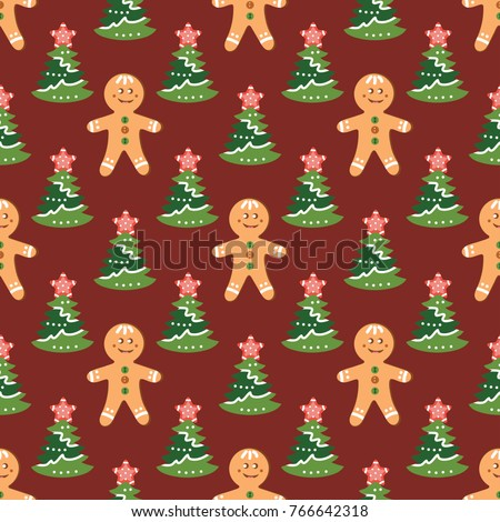 Christmas Pattern With Tree Gingerbread Man For Decoration Postcards Wallpaper