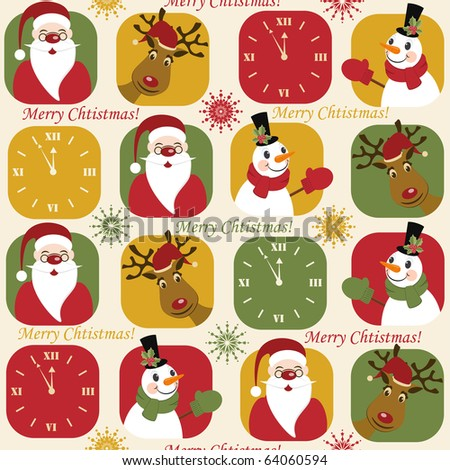 Christmas pattern with clock, santa, deer and snowman - stock vector