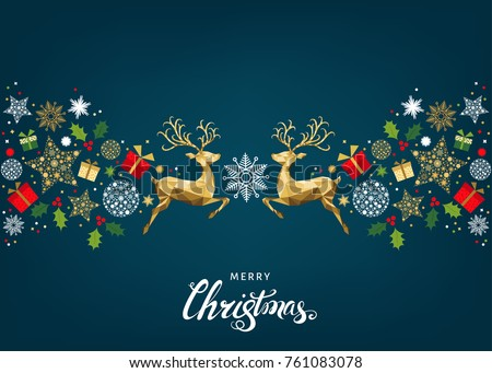 Christmas pattern with lettering and gold Xmas deer and  snowflakes.  Tree decoration. Happy New Year blue background.  Vector colorful  template  for greeting  card.
