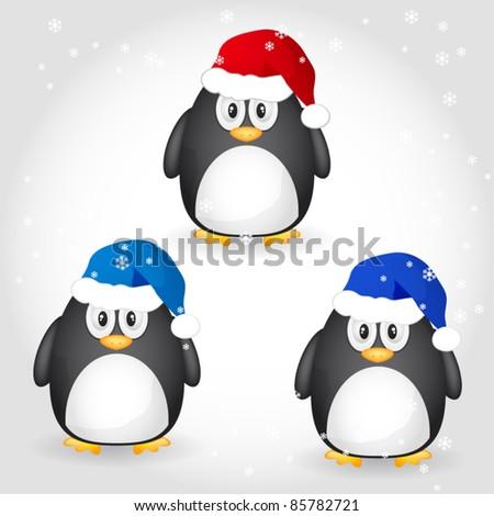 Christmas penguin - stock vector