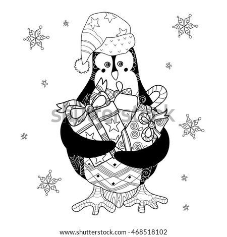 Christmas Penguin with gifts - hand drawn doodle vector on white ...