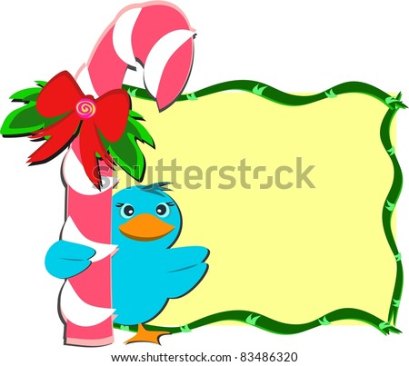 Christmas Peppermint Stick with Bird