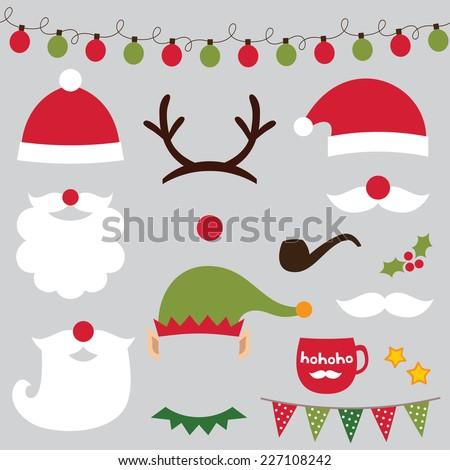 Christmas photo booth and scrapbooking vector set (Santa, deer, elf) - stock vector