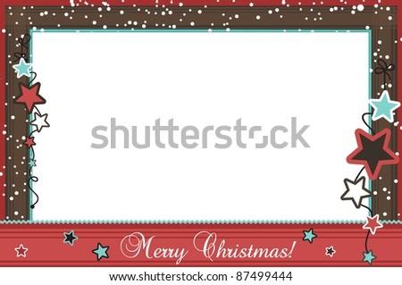 Christmas photo frame with stars, vector - stock vector