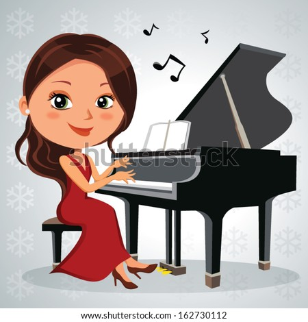 Christmas piano recital. Vector illustration of a pretty woman having music performance. More images in this series.