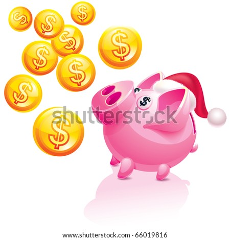 Christmas piggy bank for money rain - stock vector