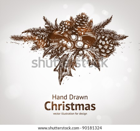 Christmas pine twigs with ribbon, holly berries and pine cone. Vector Illustration - stock vector