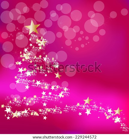 Christmas pink and red background with abstract new year's tree and stars - stock vector