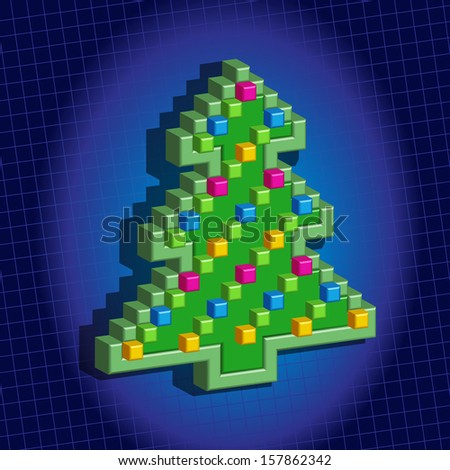 Christmas pixel tree. Christmas card. 10 eps - stock vector
