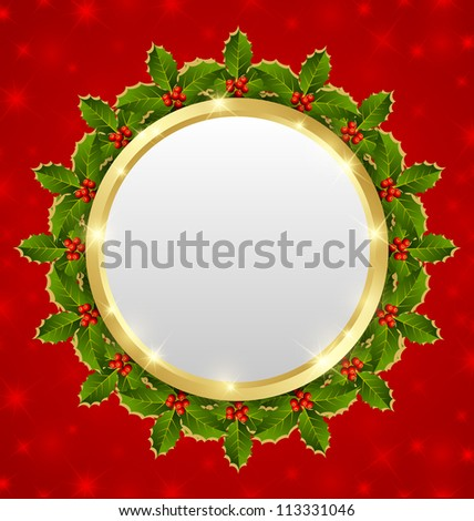 Christmas plaque with holly wreath on starry background - stock vector
