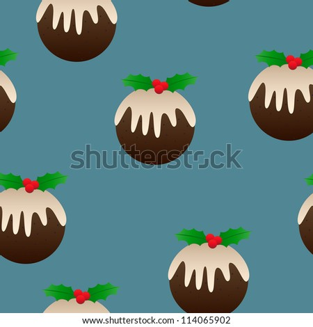 Christmas plum pudding designs as a perfectly seamless tile -ideal for backgrounds, wrapping paper and more! - stock vector