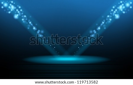 Christmas podium stage star and new year night background - stock vector