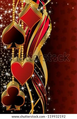 Christmas poker greeting banner, vector illustration - stock vector
