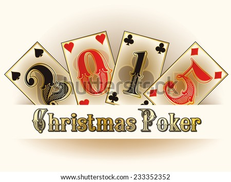 Christmas Poker happy new 2015 year cards, vector illustration - stock vector
