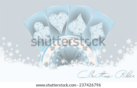 Christmas poker invitation card, vector illustration - stock vector