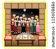 christmas posada with grup of people singing at a house entrance with nativity and traditional food - stock vector