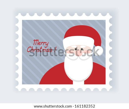 christmas post stamp with santa claus - stock vector