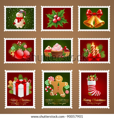 Christmas postage set. - stock vector