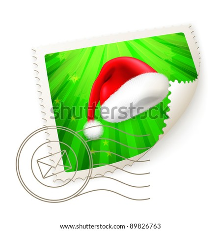 Christmas Postage Stamp, vector - stock vector