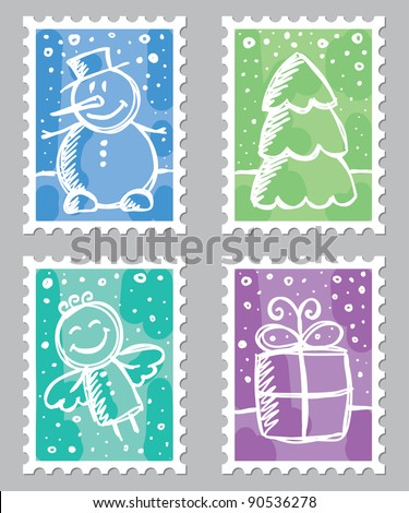 christmas postage stamps with cute drawings on gray background - stock vector