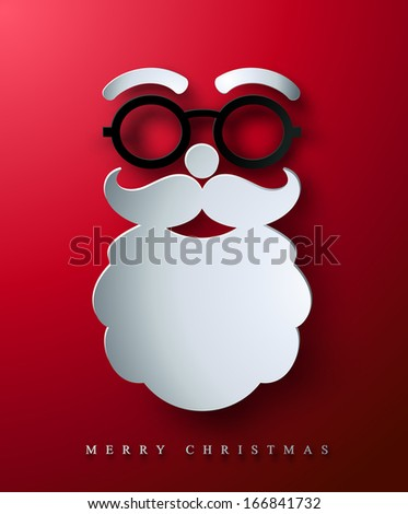 Christmas postcard. Stylized abstract paper cutout Santa's face. - stock vector