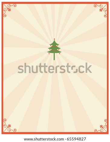 Christmas postcard.Vintage background with green tree for design - stock vector