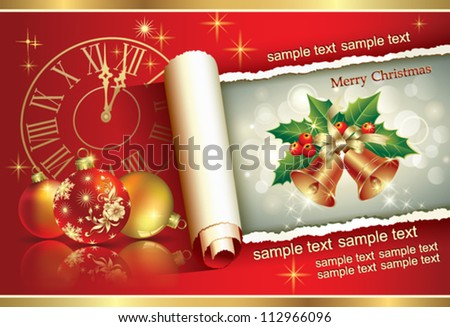 christmas postcard with balls and holiday ring - stock vector