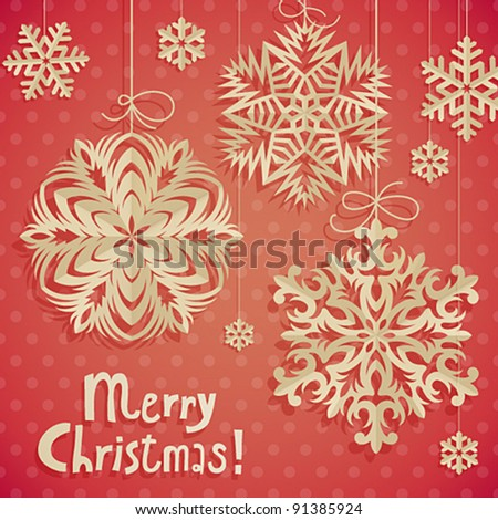 Christmas postcard with paper snowflakes. Vector illustration. - stock vector