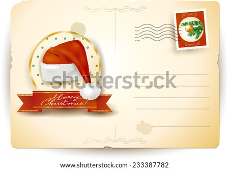 Christmas postcard with Santa's hat, vector eps 10 - stock vector