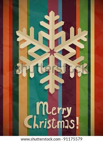 Christmas postcard with snowflake. Vector illustration.