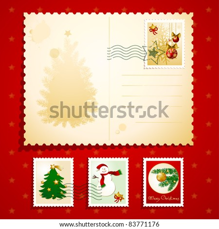 Christmas postcard with stamps, vector background - stock vector