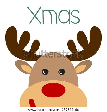 Christmas poster with Reindeer face / Christmas poster with XMAS inscription / Christmas vector illustration - stock vector