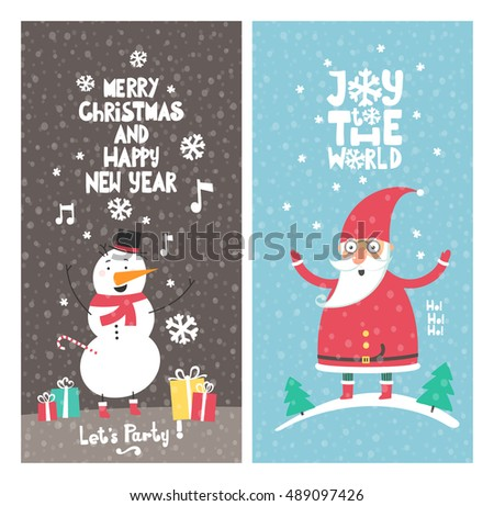 Christmas Posters set. Christmas and New Year gift cards.