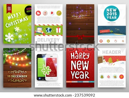 Christmas Posters Set. Christmas Lights, Wood Background. Mobile Phone Icons. Delivery Service Concept. Xmas Icons Set for Christmas Website Decorations. Labels and Tags. Vector Illustration. - stock vector