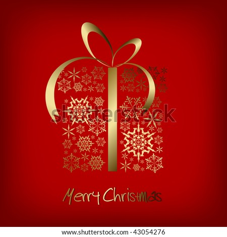 Christmas present box made from golden snowflakes on red background (vector) - stock vector