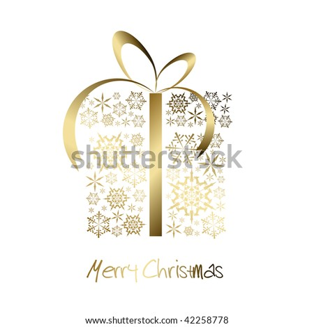 Christmas present box made from golden snowflakes (vector) - stock vector