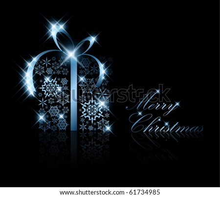 Christmas present box made from silver snowflakes on black (vector) - stock vector