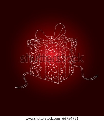 Christmas present in editable vector format - stock vector