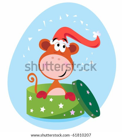 Christmas present: Monkey in green box - stock vector