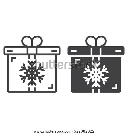 Christmas Present Symbol Gift Box With Snowflake Line Icon Outline And Filled Vector Sign