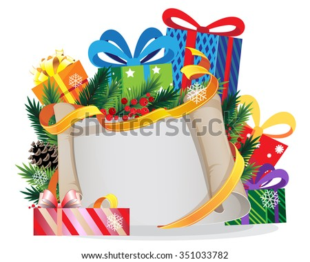 Christmas presents and Christmas tree branches with old parchment and red berries - stock vector