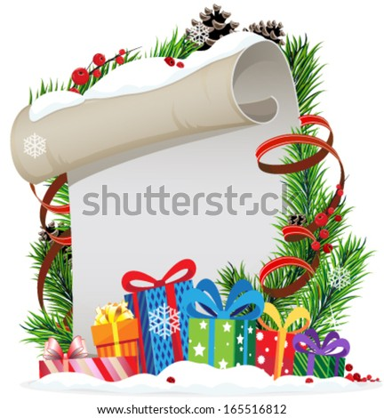 Christmas presents and Christmas wreath with old parchment and red berries - stock vector