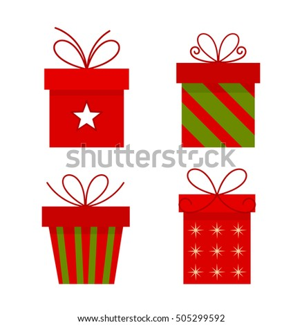 Christmas presents boxes set. Vector illustration