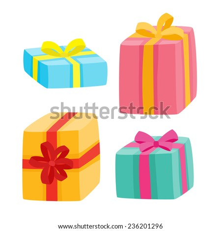 Christmas presents collection. Vector illustration of cartoon gifts isolated on white - stock vector