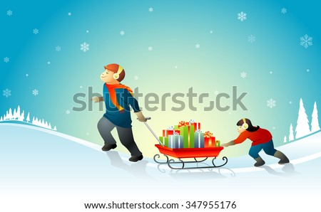 Christmas Presents Delivery-Two kids with a sled/cart full of gifts under a winter sky - stock vector