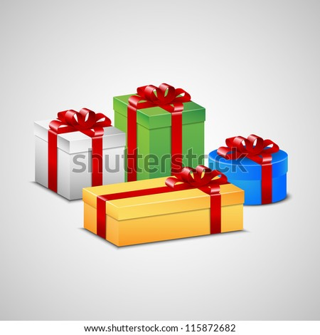 Christmas presents in white, green, blue and yellow color with red ribbon and bow. - stock vector